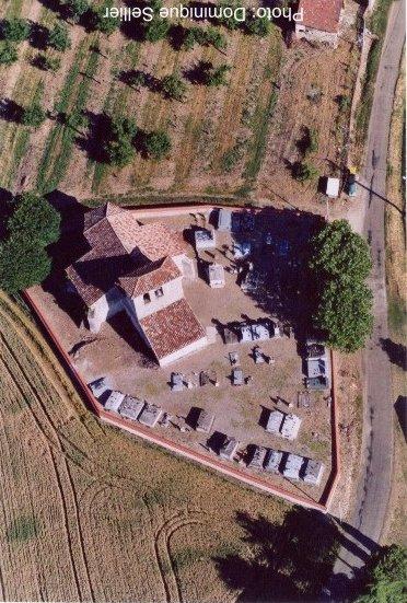 Eglise de Lamaurelle vu du ciel